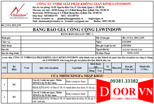 1-bang-bao-gia-cua-nhom-xingfa-lswindow-594x400 Giá bán cửa nhôm Xingfa?